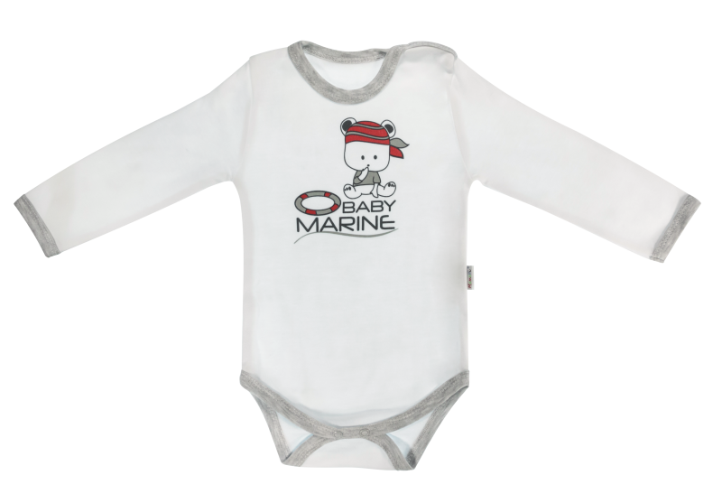 Mamatti Dojčenské body Pirát - dlhý rukáv, biele, veľ. 74