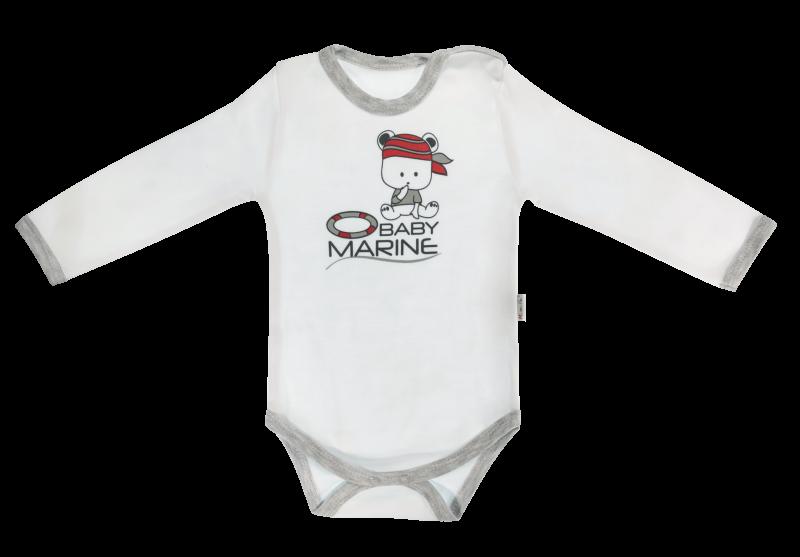Dojčenské body Pirát - dlhý rukáv, biele, veľ. 80-80 (9-12m)