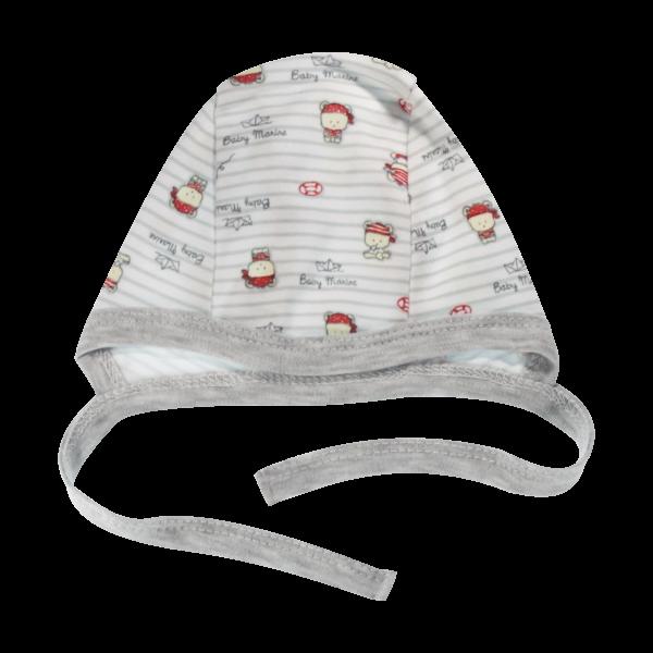Novorodenecká čiapočka Pirát, biela/sivá-56 (1-2m)